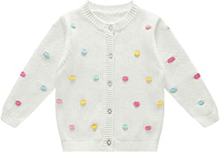 BKN Baby Girls Sweater Infant Cardigan Sweater with 3D Colorful Bubble Button up Christmas White Sweater for Newborn Boy