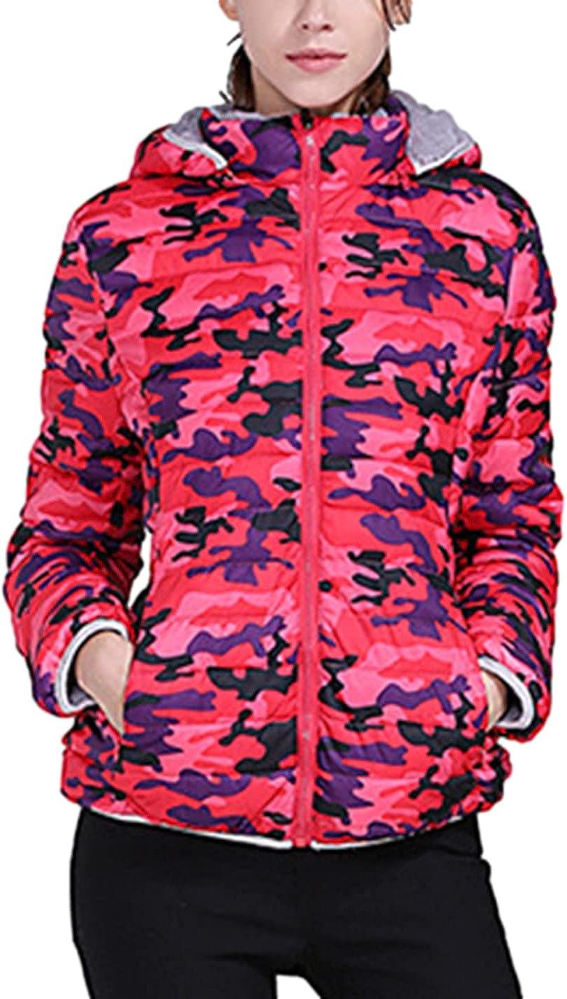 SeekMe Women's Camouflage Hooded Fleece Lined Quilted Jacket Full-Zip Winter Down Coat