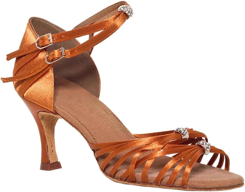 Abby YFYC-L005 Womens Latin Tango Ballroom Professional Flared Heel 3  Peep-Toe Satin Dance-shoes