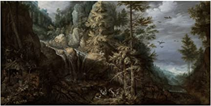 Global Gallery Art on a Budget Roelandt Savery Landscape with The Temptation of Saint Anthony Unframed Giclee on Paper Print, 24
