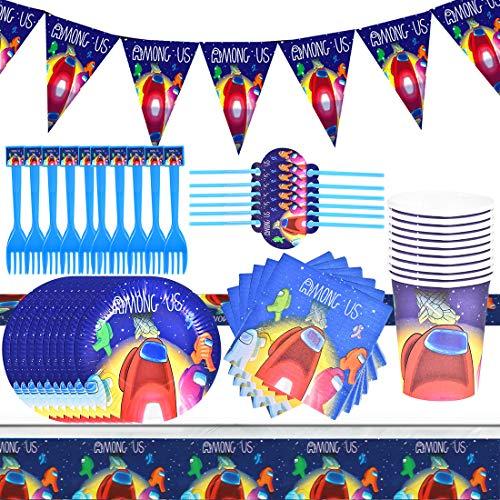Cumpleaños Guerra de among us Desechable among us Accesorios de Decoración para Fiesta 10 Invitados