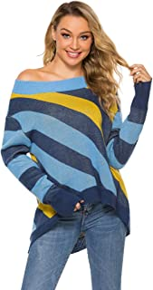 Minibee Women's Pullover Sweater Off Shoulder Tops Long Sleeve Knit Casual Blouse Oversized Tunics