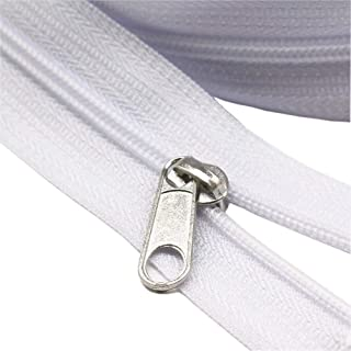 (3 White) - YaHoGa 3 White Nylon Coil Zippers by The Yard Bulk 10 Yards with 25pcs Sliders for DIY Sewing Tailor Crafts Ba...