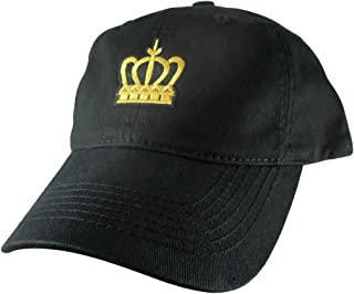 Gold Crown Dad Hat, Black Baseball Cap, Embroidered Patch