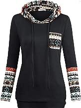 Beloved Women's V Neck Plaid Hoodies Pullover Sweatshirts Long Sleeve Tunic Pocket Black XS