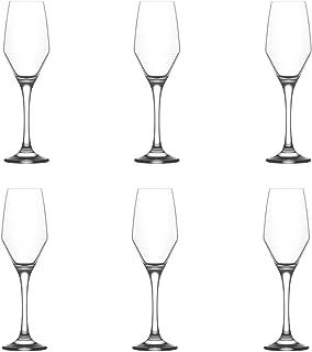 LAV Ella Glass Champagne Tulips, 230ml - Set of 6 Champagne Flutes Wine Glasses
