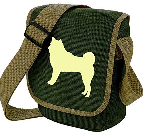 Akita - Borsa a tracolla per cani Akita Silhouette, colore: Verde oliva