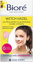 Bioré Witch Hazel Ultra Cleansing Pore Strips, 6 Nose Strips, Clears Pores up to 2x More than Original Pore Strips, features C-Bond Technology, Oil-Free, Non-Comedogenic Use