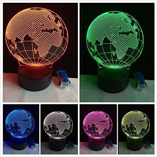 3D Vision Europa Kaart Globe Nachtlampje 7 Kleur Verloop Tafel Lamp Tafel Lamp Nachtlampje Kind Kind Verjaardag Kerstmis Gift