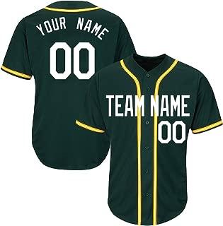 Custom Green Baseball Softball Jersey with Sewn Your Name & Numbers