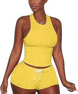 niyokki Workout 2 Piece Outfits for Women, Summer Sport Sleeveless Tank Tops and High Waist Scrunch Yoga Shorts Set Tracksuit