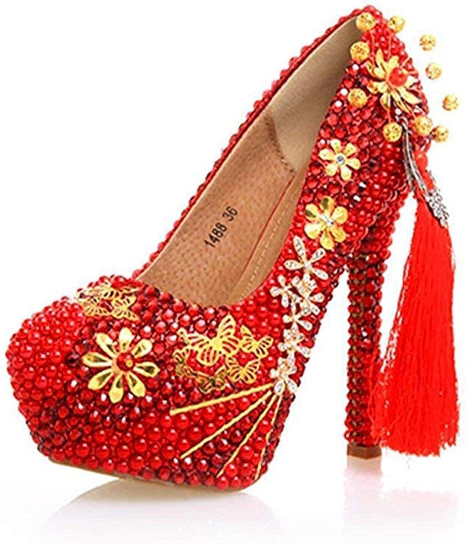 Qiusa Damen-Quasten-Plattform, die rote Hochzeits-spezielle Hochzeits-spezielle Hochzeits-spezielle Gelegenheits-Pumpen-Schuhe Großbritannien bördelt 6.5 (Farbe   -, Größe   -)  37470e