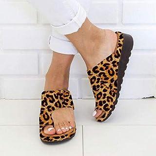 ZUOX Couples Chaussures de Plage décontractées,Sandales compensées d'été, Pantoufles à Bout Plateforme-Imprimé léopard_35,...