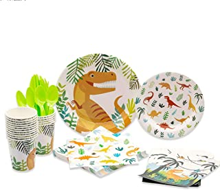 LELE Party 112 PCS Tableware Set Dinosaur Themed Party Supplies for Kids Birthdays,Includes Plastic Knives, Spoons, Forks,...