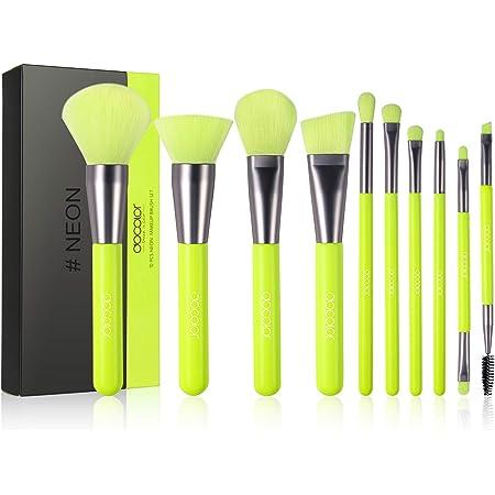 Docolor Makeup Brushes 10 Pcs Premium Synthetic Kabuki Foundation Brush Blending Face Powder Blush Concealers Eye Shadows Makeup Brush Set, Neon Green