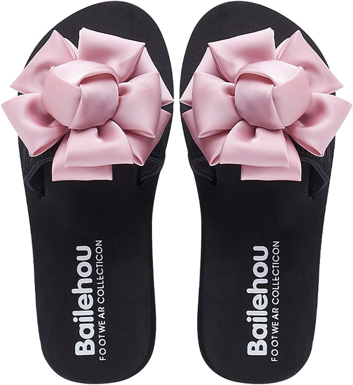 Btrada Slide Sandals for Women Bohemian Bowknot Flower Platform Flats Summer Anti-Slip Beach Slippers