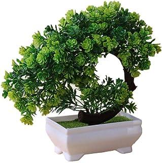 Bettying Artificial Bonsái Artificial Lotus Pot Planta Crecimiento de la Planta de Flor de plástico simulado para el Interior Home Office Office Decoration
