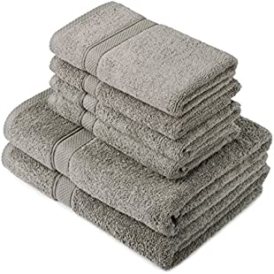 Pinzon by Amazon - Egyptian Cotton Towel Set, 2 Bath and 4 Hand Towels - Gray, 600gsm