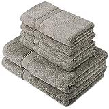 Pinzon by Amazon - Juego de toallas de algodón egipcio (2 toallas de baño y 4...