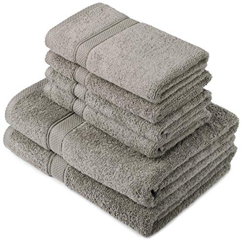 Pinzon by Amazon Handtuchset aus Baumwolle, Grau, 2 Bade- und 4 Handtücher, 600g/m²