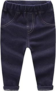 EMAOR Toddler Boys & Girls Fleece Lined Faux Denim Jeans 12 Month - 5Years