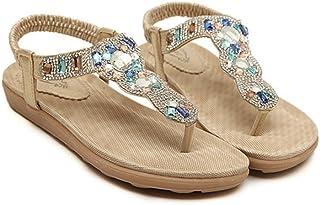 e35e30437ffca NewYork Offer Shop Women Bohemia Sling Sandals Flower Beads Yoga Flip Flop  Flats Slingback Thong Shoes