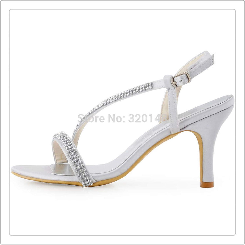 HAHUTG& Women high Heel Rhinestones Crystal Slingback Wedding Bridal Party Dress shoes