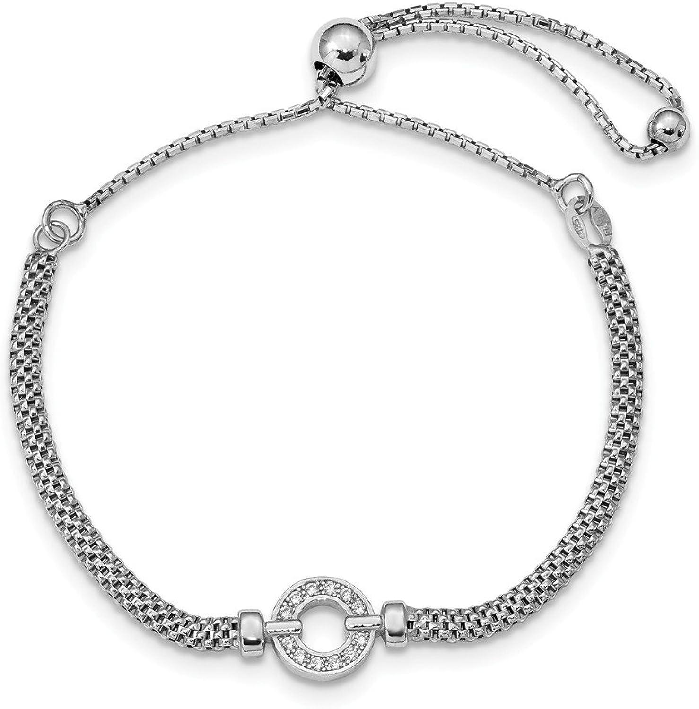 925 Sterling Silver Polished CZ Adjustable Bracelet
