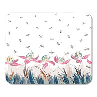 Mouse Pad Floral of Irises and Dandelion Seeds Creative Execution Blue Mousepad for Notebooks,Desktop Computers Mouse Mats, Office Supplies 10x12 Inch