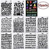 Gudotra 10pz Stencil per Bullet Journal Numero L'allfabeti Lettere per Scrapbooking Disegno Pittura Album Foto Fai da Te (stile1)