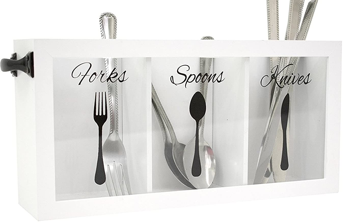 Blu Monaco Cutlery Caddy - Made of White Wood - Three Compartments for Forks, Spoons, Knives - Black Handles - kitchen utensil organizer - silverware caddy - flatware caddy