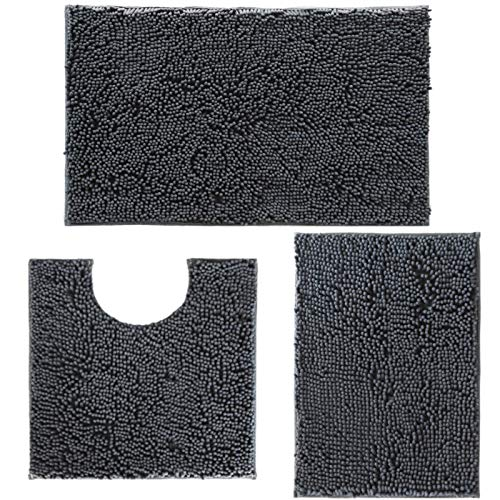 Bathroom Rugs Set of 3 Pieces Chenille Bath Mats, Extra Soft and Absorbent Bathroom Rugs and mats Set, Machine Washable Bath mat, Perfect Chenille...
