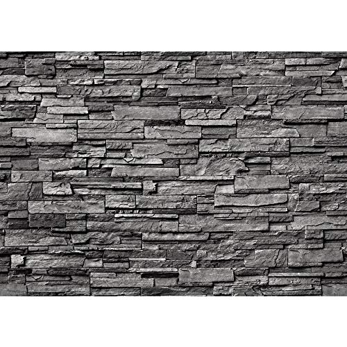 Fototapete Stein - ALLE STEINMOTIVE auf einen Blick ! Vlies PREMIUM PLUS - 400x280 cm - NOBLE STONE WALL - ANTHRAZIT - Steintapete Wandbild Steinwand Asia Stone Asien - no. 131