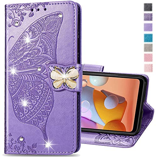 COTDINFORCA Compatible with Samsung Galaxy A31 Case Glitter Bling with Card Holder and Stand Leather Flip Wallet Diamond Butterfly Shockproof Protective Case for Samsung Galaxy A31 Crystal Lavender