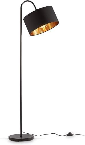 B.K.Licht lampadaire rétro pivotant I abat-jour en tissu noir et doré I pour une ampoule E27 I I abat-jour en tissu 3...