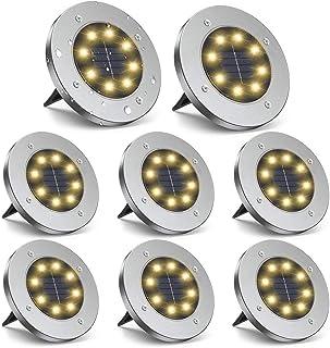 ZGWJ Solar Ground Lights,8 LED Solar Garden Lights Disk Lights Outdoor Waterproof Landscape Lights for Yard Walkway Patio ...