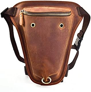Genuine Leather Messenger Shoulder Bag Men's Vintage Thigh Drop Leg Bag Male Travel Waist Belt Bags Motorcycle Riding (Color : Brown, Size : S)