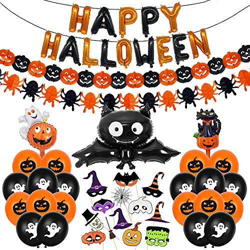 Halloween Decoracion Casa Set, Happy Halloween Globos Decoración Banner Banderinas, Guirnaldas Calabaza Araña, Murciélago Globo de Papel Aluminio con 14 Accesorios para Fotos Globo Fantasma