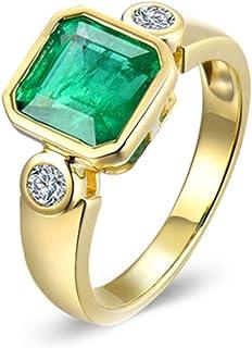 Daesar Anelli Oro Giallo Donna 18Kt, Anello Promessa Matrimonio Elegante Smeraldo Quadrato 1.85ct con Diamante 0.16ct Anel...