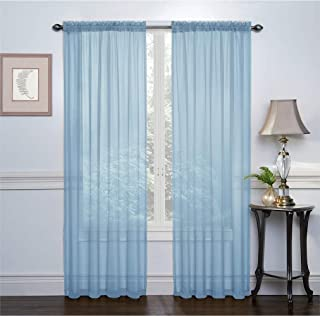 GoodGram 2 Pack: Ultra Luxurious High Thread Rod Pocket Sheer Voile Window Curtains Assorted Colors (Baby Blue)