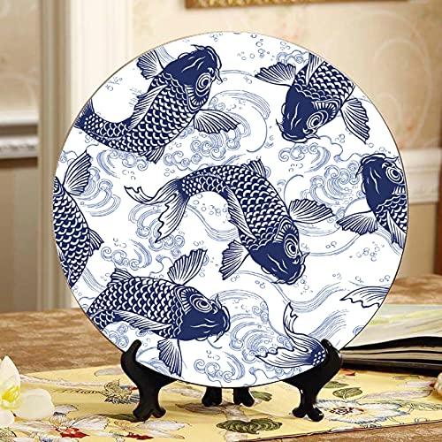 Neujahrskarte Mit Kiefer Und Wildschwein Display Standplatte Dekor Dekor Teller Home Wobble-Platte Mit Display Stand Dekoration Haushalt Teller Keramik Modern