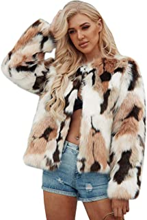 Women's Faux Fur Coat Fashion Winter Warm Outwear Jacket Cardigan Cocktail Club Party