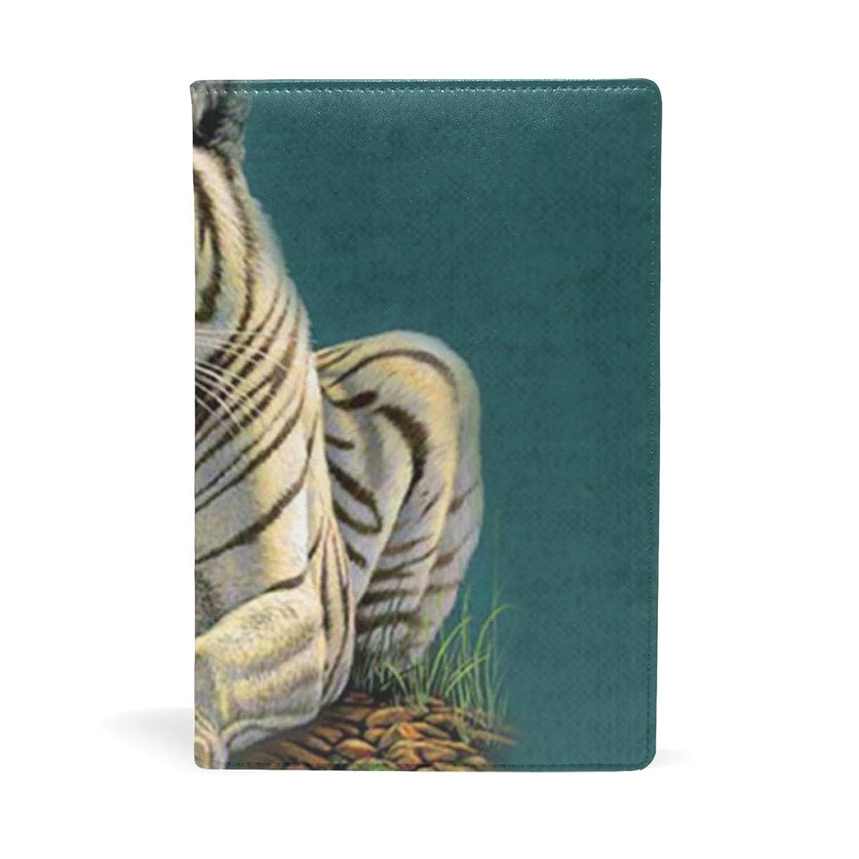 金貸し支払い本を読むかっこいい 虎 ブックカバー 文庫 a5 皮革 おしゃれ 文庫本カバー 資料 収納入れ オフィス用品 読書 雑貨 プレゼント耐久性に優れ