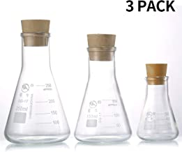 Young4us Glass Erlenmeyer Flask Set, (250 ml, 150 ml & 50 ml) Graduated Borosilicate Glass Erlenmeyer Flasks with Rubber Stoppers & Accurate Scales for Lab, Experiment, Chemistry, Science Studies etc