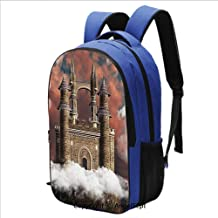 Classical Basic Travel Backpack For School Fairy Magic Castle on the Hill Middl
