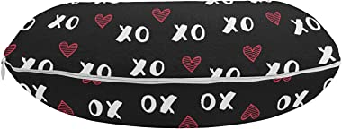 "Ambesonne XOXO Travel Pillow Neck Rest, XO Acronym and Striped Heart Pattern Love Romantic Print, Memory Foam Traveling Accessory for Airplane and Car, 12"", Charcoal Grey Dark Coral"