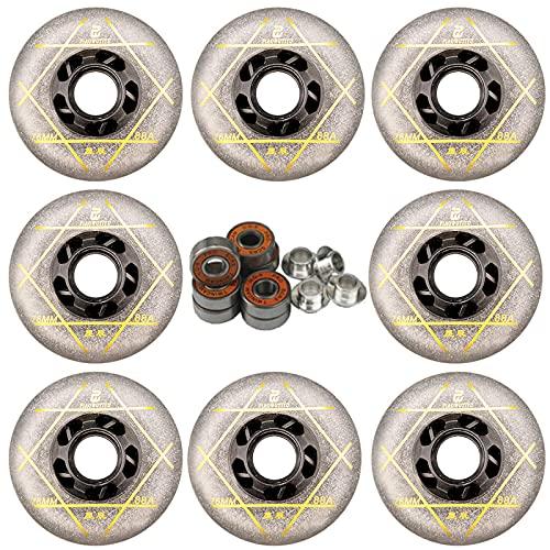 Ruedas de repuesto para patines en línea, 8 unidades, 88 A, 76 mm/80 mm, resistentes al desgaste, ruedas de patinaje para interiores y exteriores, para montar en actividades recreativas (plata, 72 mm)