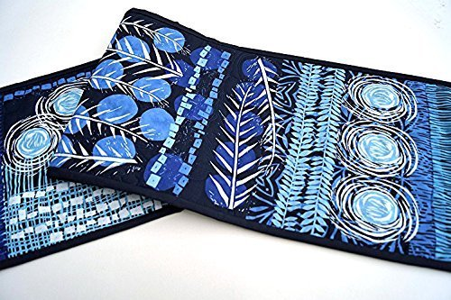 Blue Botanical Quilted Table Runner
