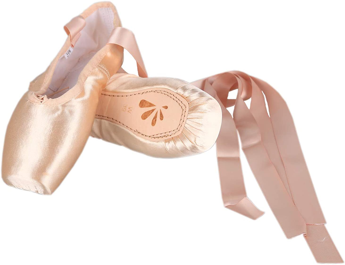DANCEWOOD Ballet Pointe Satin Shoes Professional Dancing Slippers Pink Ballet Flats with Sewed Ribbons for Girls Women