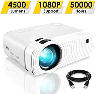 """Mini Projector, ELEPHAS 4500 Lumens Portable Projector Max 180"""" Display 50000 Hours Lamp Life LED Video Projector Support ..."""